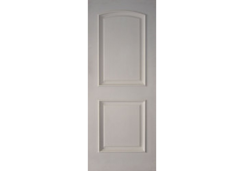 2prms 2 Panel Arched Top White Primed With Raised Moulding 1 3 4 Interior Solid White