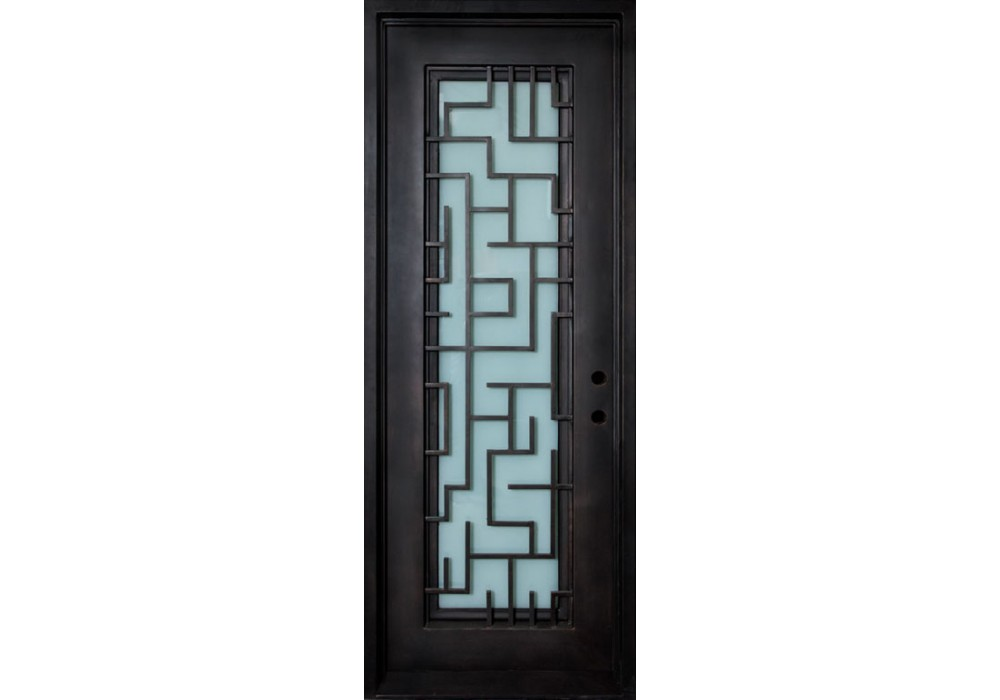 Stella Wrought Iron Door Frame And Glass With Tetris