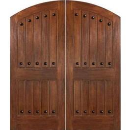 """IMPCostaSmeralda - IMPACT-Mahogany Costa Smeralda Elliptical Arch Plank Double Doors with Clavos (1-3/4"""" )"""