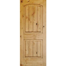 """ELKW121V38 - Knotty Alder 2 Panel V-Groove Arch Top Door (1-3/8"""")"""