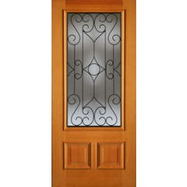"""AB6492 - Vertical Grain Douglas Fir EXTERIOR 1-Lite 2-Panel Bottom with Wrought Iron Grill -AB6492 (1-3/4"""")"""
