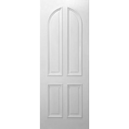 "4cprms - 4 Curved Panel Square Top White Primed w/ Raised Moulding (1-3/4"")"