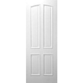 """4 Panel Square Top (original arched top panel) White Primed w/ Raised Moulding (1-3/4"""")"""