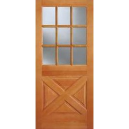 "AB2035 - Vertical Grain Douglas Fir EXTERIOR 9-Lite Top with Cross Buck Panel Bottom (1-3/4"")"