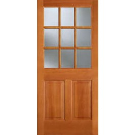 "AB944 - Vertical Grain Douglas Fir EXTERIOR 9-Lite Single Glazed With 2 Panel Bottom -AB944 (1-3/4"")"