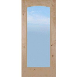 "KA1LArched134 - Knotty Alder 1-Lite French Door With ARCHED Dual Pane Clear Glass (1-3/4"")"