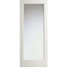 "WP1LMIRROR - 1 Lite White Primed Interior Square Sticking- 2 Side Mirror Glass Door (1-3/4"")"