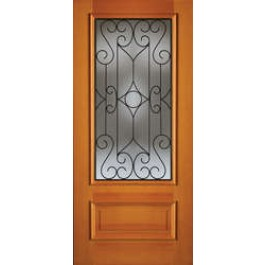 """AB6490 - Vertical Grain Douglas Fir EXTERIOR 1-Lite 1-Panel Bottom with Wrought Iron Grill -AB6490 (1-3/4"""")"""