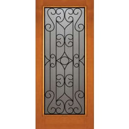 "AB6470 - Vertical Grain Douglas Fir EXTERIOR 1-Lite with Wrought Iron Grill -AB6470 (1-3/4"")"