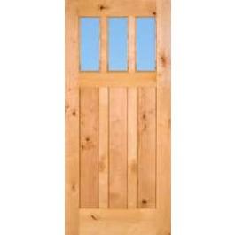 Knotty Alder 3-Lite Craftsman Door With Clear Glass | ETO Doors
