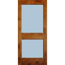 "KA2L - Knotty Alder 2-Lite with Dual Pane Clear Tempered Glass (1-3/4"")"