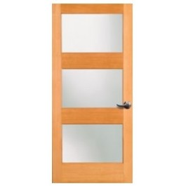 "1603LAMI - 3 LITE FRENCH DOUGLAS FIR WOOD DOOR W/ SHAKER STICKING AND WHITE LAMI GLASS  (1-3/8"")"
