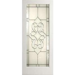 """EXWP1LElegantGlass - 1 Lite White Primed Square Sticking Door- Elegant Glass (1-3/4"""")"""
