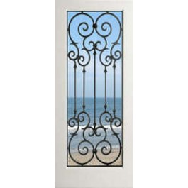 "EXWP1LMonteCarlo - 1 Lite White Primed Square Sticking Door-Monte Carlo (1-3/4"")"