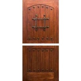 "DUTRM1 - Dutch: Mahogany RM1 Rustic Knotty Door (1-3/4"")"