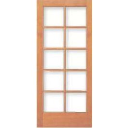 "AB7010 - Vertical Grain Douglas Fir French Door 10-Lite/5 High with Clear Dual Glazed glass (1-3/4"")"