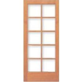 Vertical Grain Douglas Fir French Door 10-Lite/5 High with Clear Dual Glazed glass