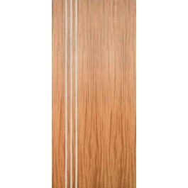 "AMQSA3V - Mahogany Flush Door with 3 Modern 1/4""  Aluminum Strips Inlaid (Hinge Side) (1-3/4"")"