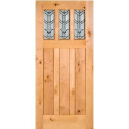Knotty Alder Craftsman 3-Lite Door With Beveled Glass   ETO Doors