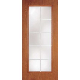 "DRG0010LT - Rockingham-Plastpro - CLEAR IG 10 LITE WOODGRAIN FRENCH FLUSH DOOR w/ INSERT (1-3/4"")"