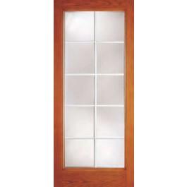 "DRG10G10 - Chardon-Plastpro - CLEAR IG 10 LITE INTERNAL GRID WOODGRAIN FLUSH GLAZED DOOR (1-3/4"")"