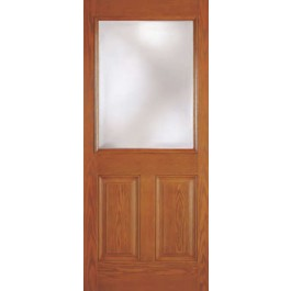 "DRG12C - Crestline-Plastpro - CLEAR IG 2 PANEL 1/2 LITE WOODGRAIN FLUSH GLAZED DOOR (1-3/4"")"