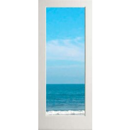 "EXWP1LCLEAR - Exterior 1 Lite White Primed with Dual Clear Tempered Glass Door (square sticking) (1-3/4"")"