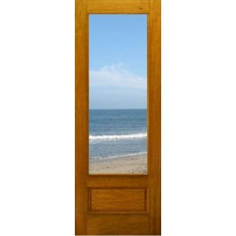 """FD1LPB - Mahogany 1-Lite Panel Bottom Dual Clear Tempered Glass (8-0ft) (1-3/4"""")"""