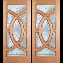 """ESM538A - Escon - Mahogany Oval Ring Double Door [Crescendo] Raised Molding 1 Side (1-3/4"""")"""