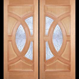 "ESM538PA - Escon - Mahogany Oval Ring Double Door [Plain Panel]: Excellent Series (1-3/4"")"