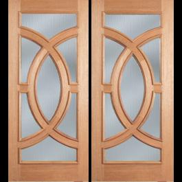 """Reed Glass - Escon - Mahogany Oval Ring Double Door (1-3/4"""")"""