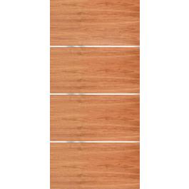 """Movida - Mahogany Flush Door with 1/4"""" Horizontal Aluminum Strips (1-3/4"""")"""