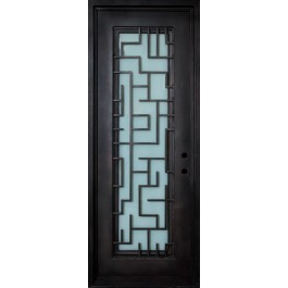 """STELLA - Wrought Iron Door, Frame and Glass with Tetris Scroll (1-3/4"""")"""