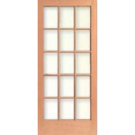 "TM1515 - Vertical Grain Douglas Fir French Door 15-Lite/5 High (1-3/4"")"