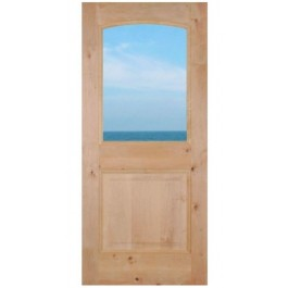 "KA230Halflite - Knotty Alder 1/2 Lite Dual Pane Clear Tempered Glass (1-3/4"")"