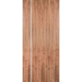 "WALPSA1V - Walnut  Standard Duty Flush Doors with 1 Modern 1/4"" Aluminum Strips Inlaid (Hinge Side) (1-3/4"")"