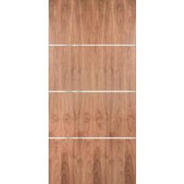 "WALPSA3H - Walnut Plain Sliced Standard Duty Flush Doors with Modern 1/4"" Aluminum Strips Inlaid Horizontally (1-3/4"")"