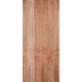 "WALPSA3V - Walnut Standard Duty Flush Doors with 3 Modern 1/4"" Aluminum Strips Inlaid (Hinge Side) (1-3/4"")"