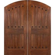 IMPACT-Mahogany Costa Smeralda Elliptical Arch Plank Double Doors with Clavos