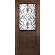 "DRA2BPCL344 - Columbia-Plastpro - PRISCILLA TWO PANEL RUSTIC WROUGHT IRON HALF LITE DOOR (1-3/4"")"
