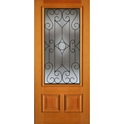 "AB6492 - Vertical Grain Douglas Fir EXTERIOR 1-Lite 2-Panel Bottom with Wrought Iron Grill -AB6492 (1-3/4"")"
