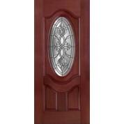 Marlow-Plastpro - CASTILE PATINA MAHOGANY 3/4 OVAL DELUXE DOOR