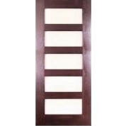 "MV8005AE - 5 LITE FRENCH MAHOGANY WOOD DOOR W/ SQUARE STICKING AND ACID ETCH GLASS (1-3/4"")"