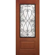 "DRG29PLC342 - Mountainside-Plastpro - PRISCILA WROUGHT IRON WOODGRAIN 3/4 LITE DOOR (1-3/4"")"