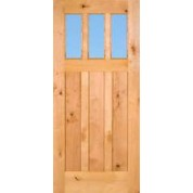 Knotty Alder 3-Lite Craftsman Door With Clear Glass | ETO Doors