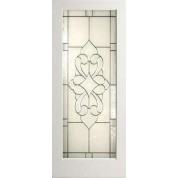 "EXWP1LElegantGlass - 1 Lite White Primed Square Sticking Door- Elegant Glass (1-3/4"")"