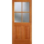 "AB7444 - Vertical Grain Douglas Fir EXTERIOR 4-Lite With 2 Panel Bottom with Dual Tempered Clear Glass (1-3/4"")"