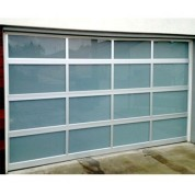 GlassWhiteLami - Full View Aluminum & White Laminated Glass Garage Door