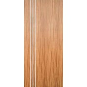 "Mahogany Flush Door with 3 Modern 1/2"" Aluminum Strips Inlaid (Hinge Side) 1-3/4"""