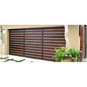 El Moderno - Contmporary Wood Garage Door and Vertical White Laminated Glass